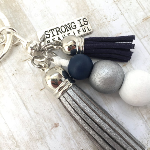 Tassel Keyring - Strong is Beautiful - Navy