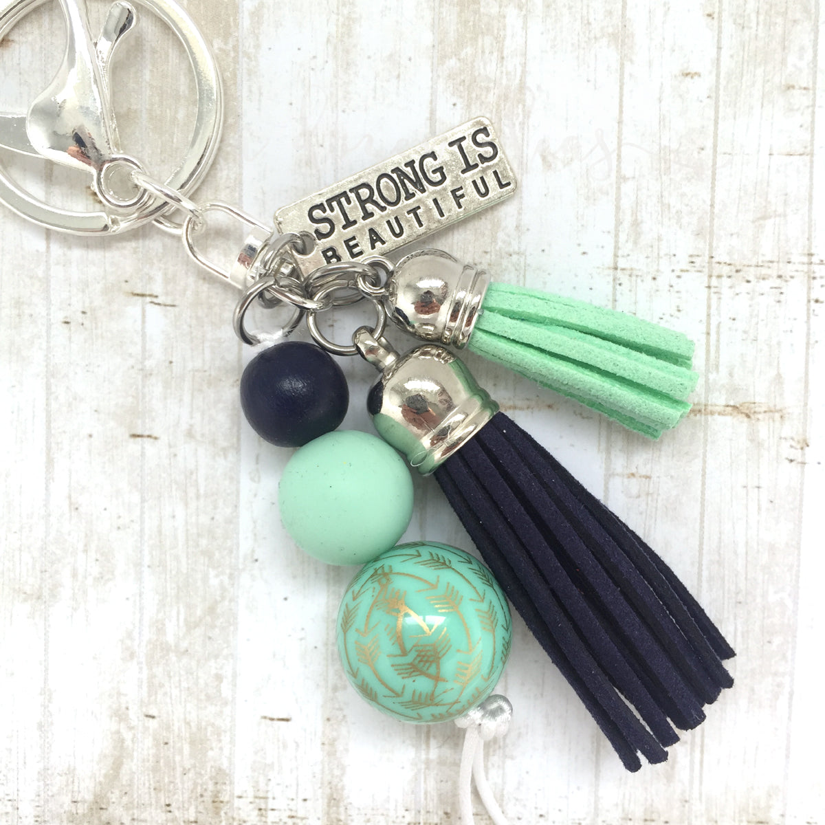 Tassel Keyring - Strong is Beautiful - Blue Green
