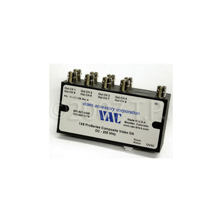 VAC 1x8 Composite Video Distribution Amplifier with BNC & Independent Gain