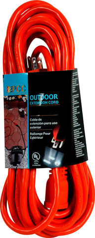 13A-125V-1625W Outdoor Extension Cord (15FT) Black