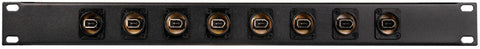 16 Point Neutrik FireWire Patchbay 6-Pin Black Barrel Connectors