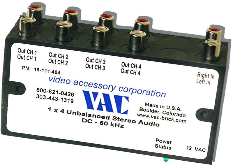VAC 16-111-404 1x4 Stereo Unbalanced Distribution Amplifier