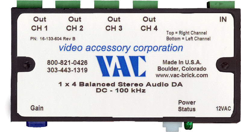 VAC 16-132-604 ProSeries 1x4 Balanced Stereo Audio Distribution Amplifier