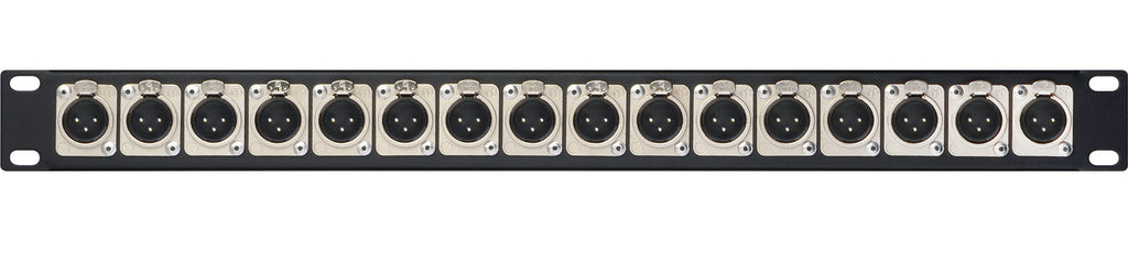 1 RU Panel w/16 XLR Male NC3MD-SCREW Connectors