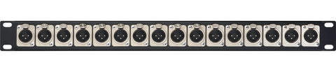 A high quality Image of 1 RU Panel w/16 XLR Male NC3MD-SCREW Connectors