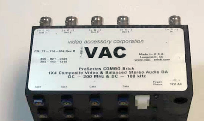VAC 19-114-064 1x4 Combo Composite Video plus Bal Stereo Audio DA