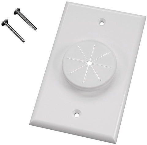 Midlite 1GIV-GR1 1 GANG Wireport Wall Plate with Grommet- Ivory
