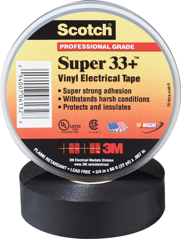 A high quality Image of 3M Scotch Super 33+ 7 Mil Pro Grade Electrical Tape 3/4 Inch x 52 Foot