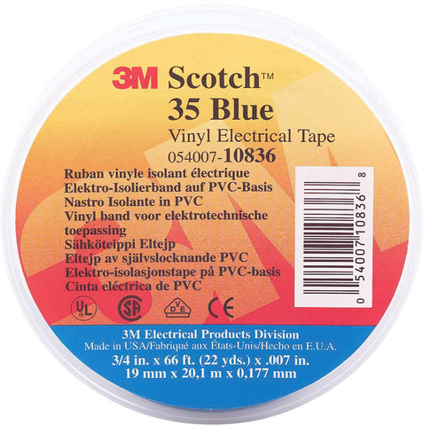 A high quality Image of 3M Scotch 35 Color Coding Electrical Tape 1/2 Inch x 20 Feet Blue