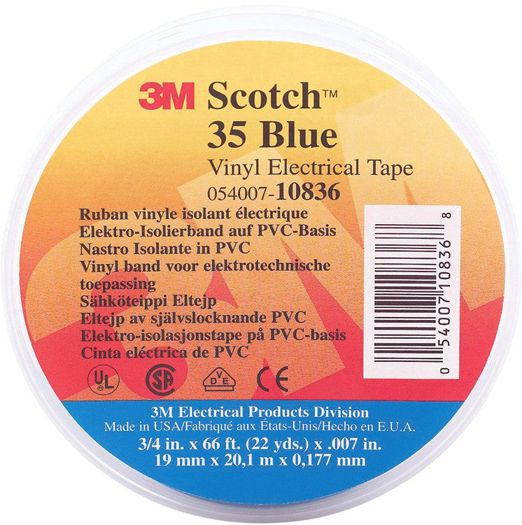 3M Scotch 35 Color Coding Electrical Tape 1/2 Inch x 20 Feet Red