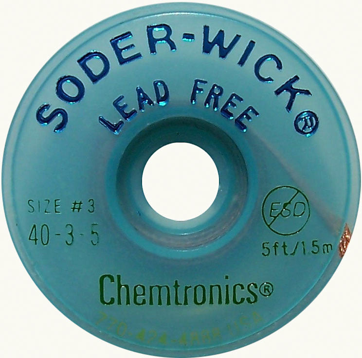 Chemtronics 40-3-5 Lead-Free Solder-Wick Desoldering Braid - Size No.3 0.080In x 5FT