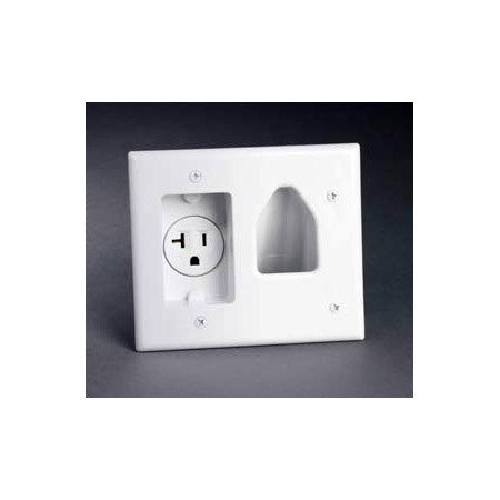 Datacomm 45-0020-WH Recessed Low Voltage Cable Plate with 20 Amp Rec. Power White