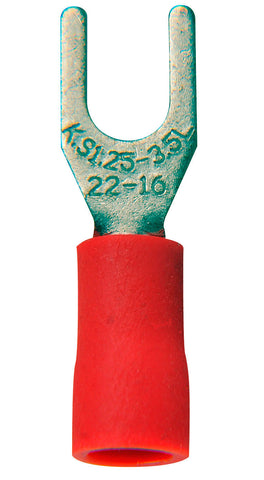 22-16 AWG Crimp Terminal #6 Spade 100 Pack Red