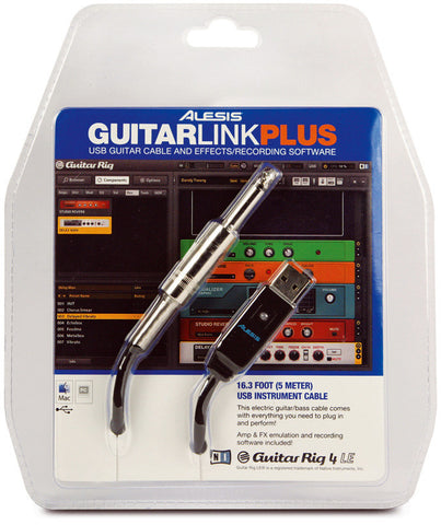 Alesis GuitarLink Plus USB to 1/4-Inch Instrument Cable 16.5 Ft