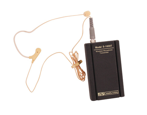 AmpliVox S1635 Wireless Flesh-Tone Single over-ear/headset electret Microphone kit