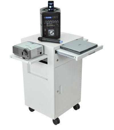 AmpliVox SN3375 Multimedia Cart with Locking Cabinet
