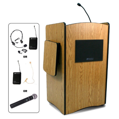 AmpliVox SW3230 Multimedia Computer Lectern with Wireless Microphone (in 4 colors)
