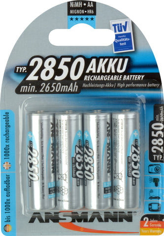 A high quality Image of Ansmann 5035212 Mignon NIMH Rechargeable Battery AA 2850mAh - Pack of 4