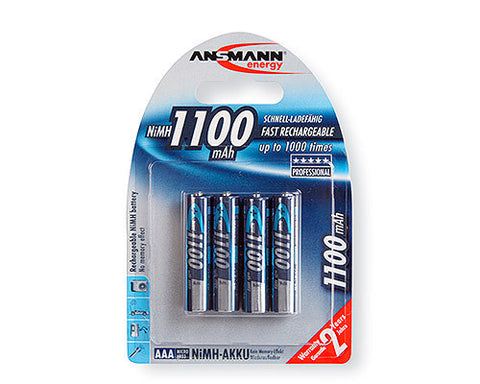 Ansmann 5035232 Micro NIMH Rechargeable Battery AAA 1100mAh- Pack of 4