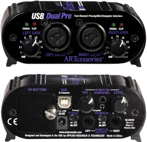 ART USBDUALPRE 2 Channel Preamp With XLR/TRS Combo Jacks & USB