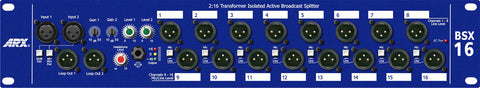 ARX BSX 16 - 1 or 2 In - 16 out Transformer Isolated Active Broadcast Splitter