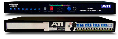 ATI Audio DA1008-2 1X8 Distribution Amplifier metered +22dBm Output Tem Strip I/O