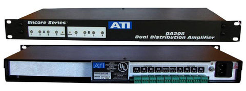 ATI Audio DA208 Dual 1X4 Distribution Amplifier with Clip LEDs +18dBm Output
