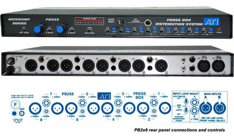 ATI PB2X8 Pressbox 2 IN Mic-to-Line Mixer with 16 Out DA