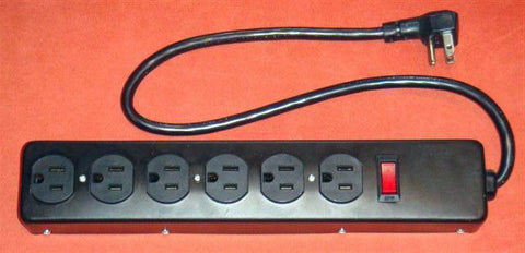 AVB Cable LTS-6E 6 Outlet Metal Power Strip with Short Cord - Black