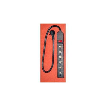 AVB Cable LTS-6H 6 Outlet Strip with Short Cord - Black