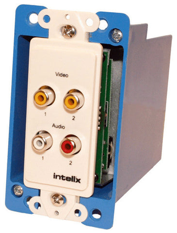 Intelix AVO-V2A2-WP-F Dual Composite Video Wallplate Balun RCA with Stereo Audio