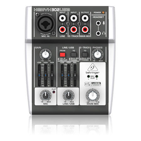 A high quality Image of Behringer 302USB Premium 5-Input Mixer with XENYX Mic Preamp