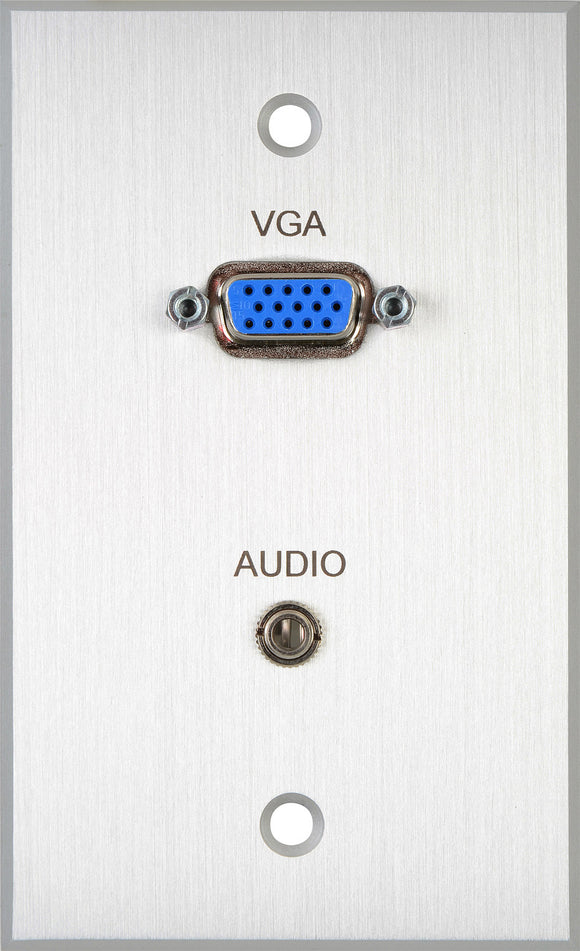 TecNec Board Room 1-Gang Clear Anodized Wall Plate with HD 15-Pin Female Barrel & 3.5mm Stereo Mini Jack (Solder)