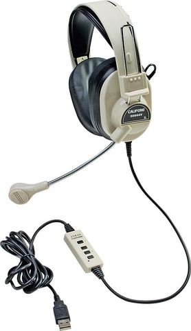 Califone 3066-USB Deluxe Stereo Headphones with Boom Mic and USB Plug
