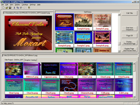 Cayman Graphics MCCG Message Channel Character Generator Software