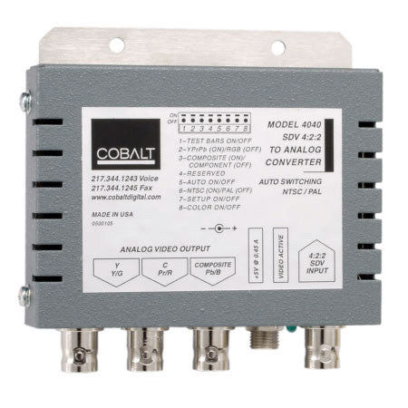 Cobalt 4040 Encoder/D to A SDI to Analog Comp/Y/C or YPbPr - Includes PWR Supply