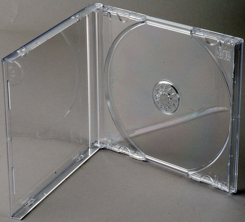 Clear CD Jewel Boxes with Black Trays 100 Pack