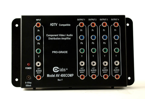 CE Labs AV400SV 1x4 S-Video/Composite and Stereo Audio Distribution Amplifier