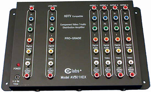 CE Labs AV501HDX 1x5 HDTV /Component with Digital Audio AV Distribution Amp
