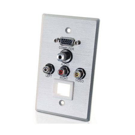 1 Gang HD15 VGA 3.5mm Composite Video Stereo Audio Keystone Wall Plate