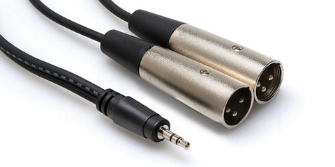 Hosa CYX-402 Stereo 3.5mm Mini Male to 2 XLR Male Y-Cable 6.6FT