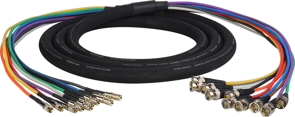 3G/HD-SDI Gepco VS10230 10-Channel DIN1.0/2.3 Male to BNC Male Video Adapter Snake Cable 25FT