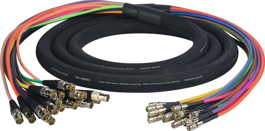 3G/HD-SDI Gepco VS16230 16-Channel DIN1.0/2.3 to BNC Female Video Adapter Snake Cable 10FT