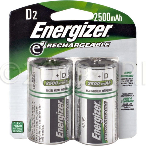Energizer DNH2 Rechargeable D Cell NiMH Batteries -2 Pack