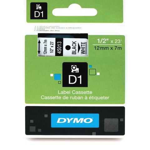 "Dymo 1/2"" x 23FT Black on Clear Tape"