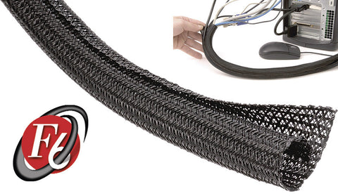 Techflex 1 1/2 Inch F6-Self Wrap Sleeving Black 75FT