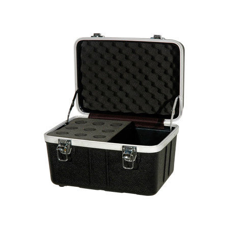 Grundorf ABS-MC09C Microphone Case - Holds 9 Mics w/ Storage Compartment