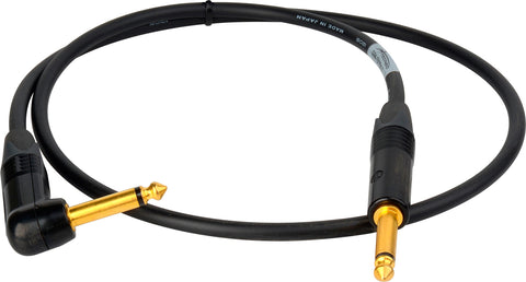 "Canare GS-6 Instrument Cable with Neutrik XS 1/4"" to 1/4"" Right Angle Phone Plugs 3FT (Multiple Colors)"