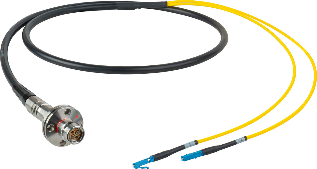 A high quality Image of Camplex LEMO FMW to Duplex LC In-Line Fiber Optic Breakout Cable - 75 Foot