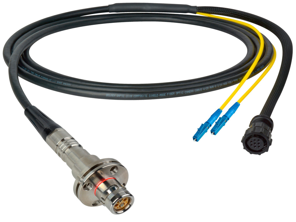 A high quality Image of Camplex LEMO FMW to Duplex LC & 8-Pin Amp In-Line Fiber Breakout 15 Foot